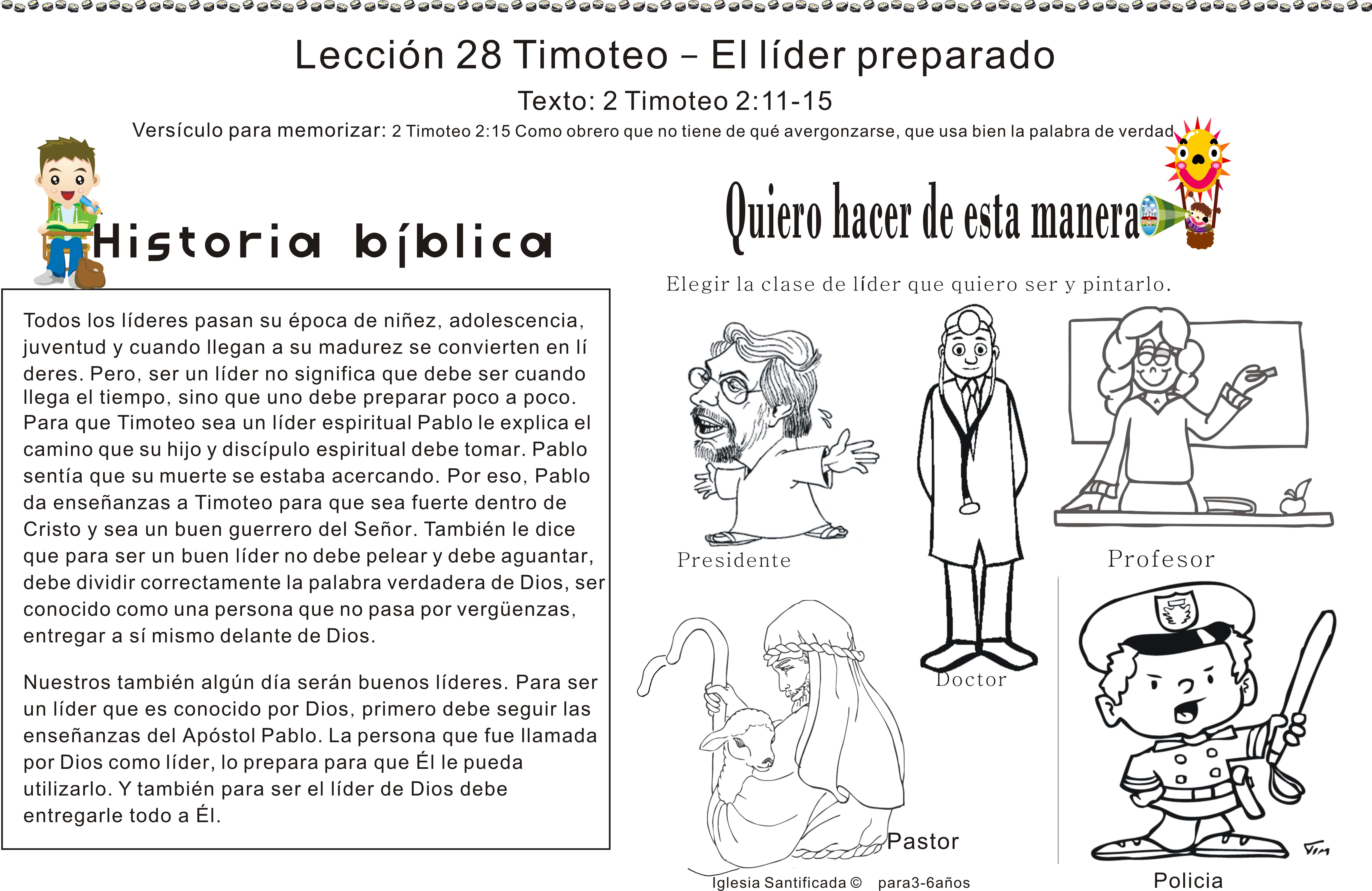 Lección 28 Timoteo El Líder Preparado Iglesia De Niños