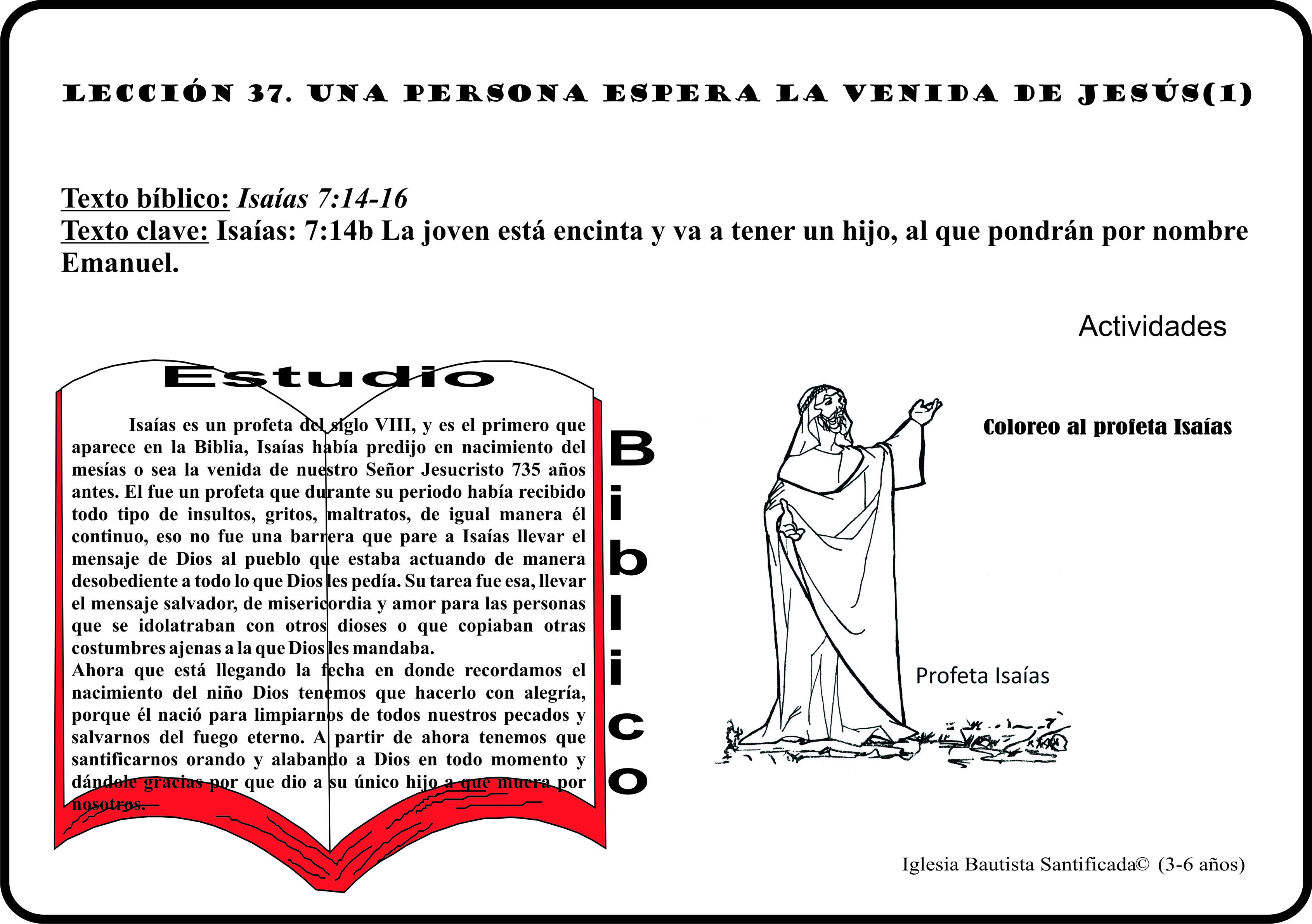 Lección 37. Una persona espera la venida de Jesús.(1)   Iglesia de Niños