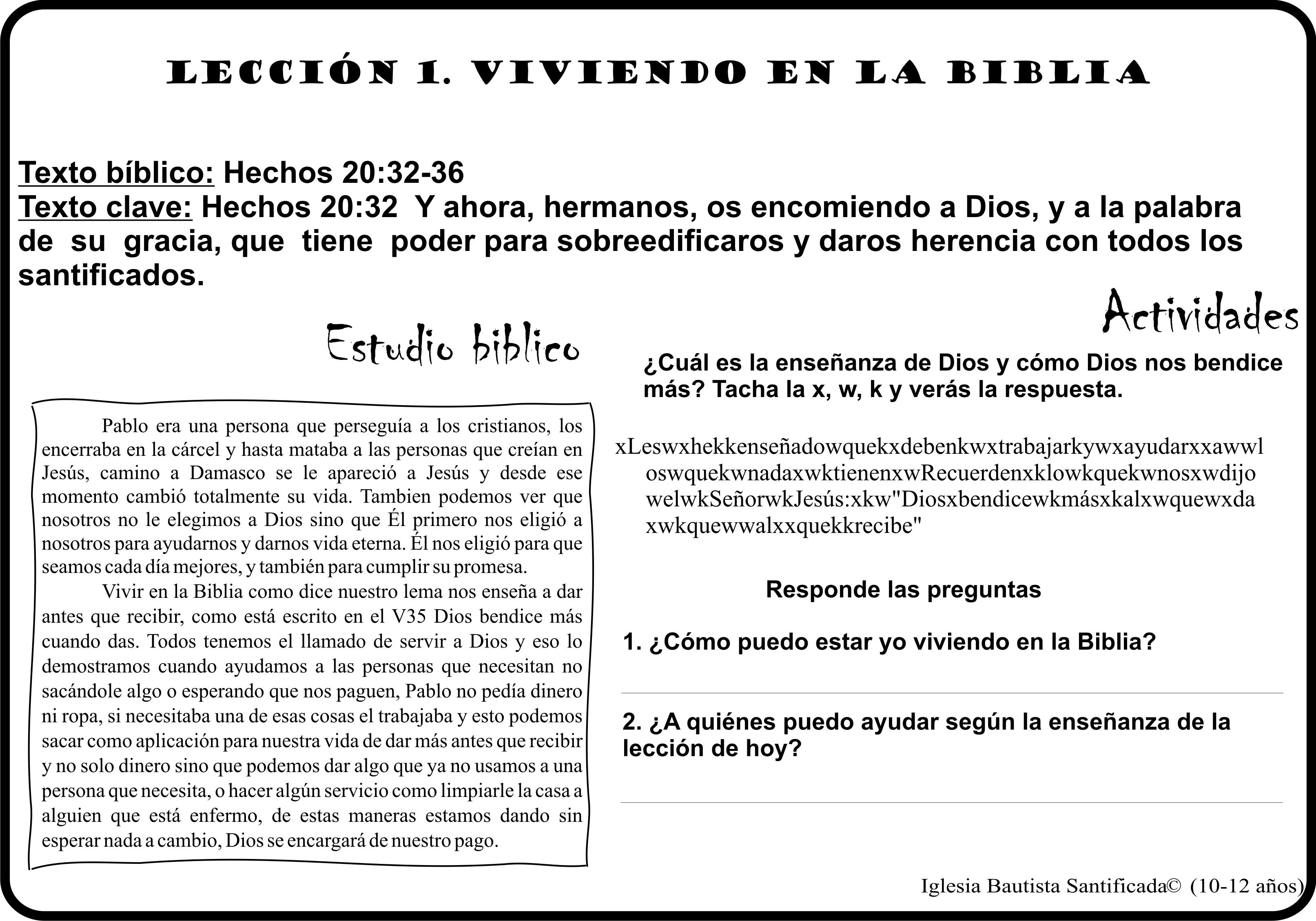 Lección 1 Vivimos En La Biblia Iglesia De Niños