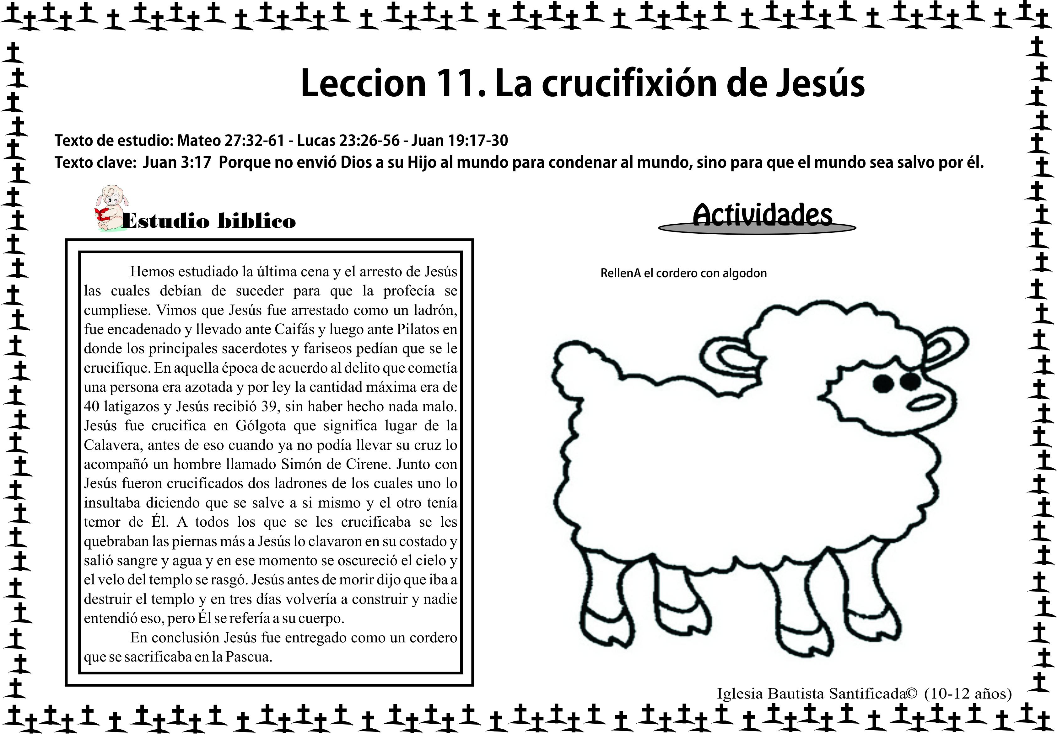 Lección 11. La crucifixión de Jesús | Iglesia de Niños
