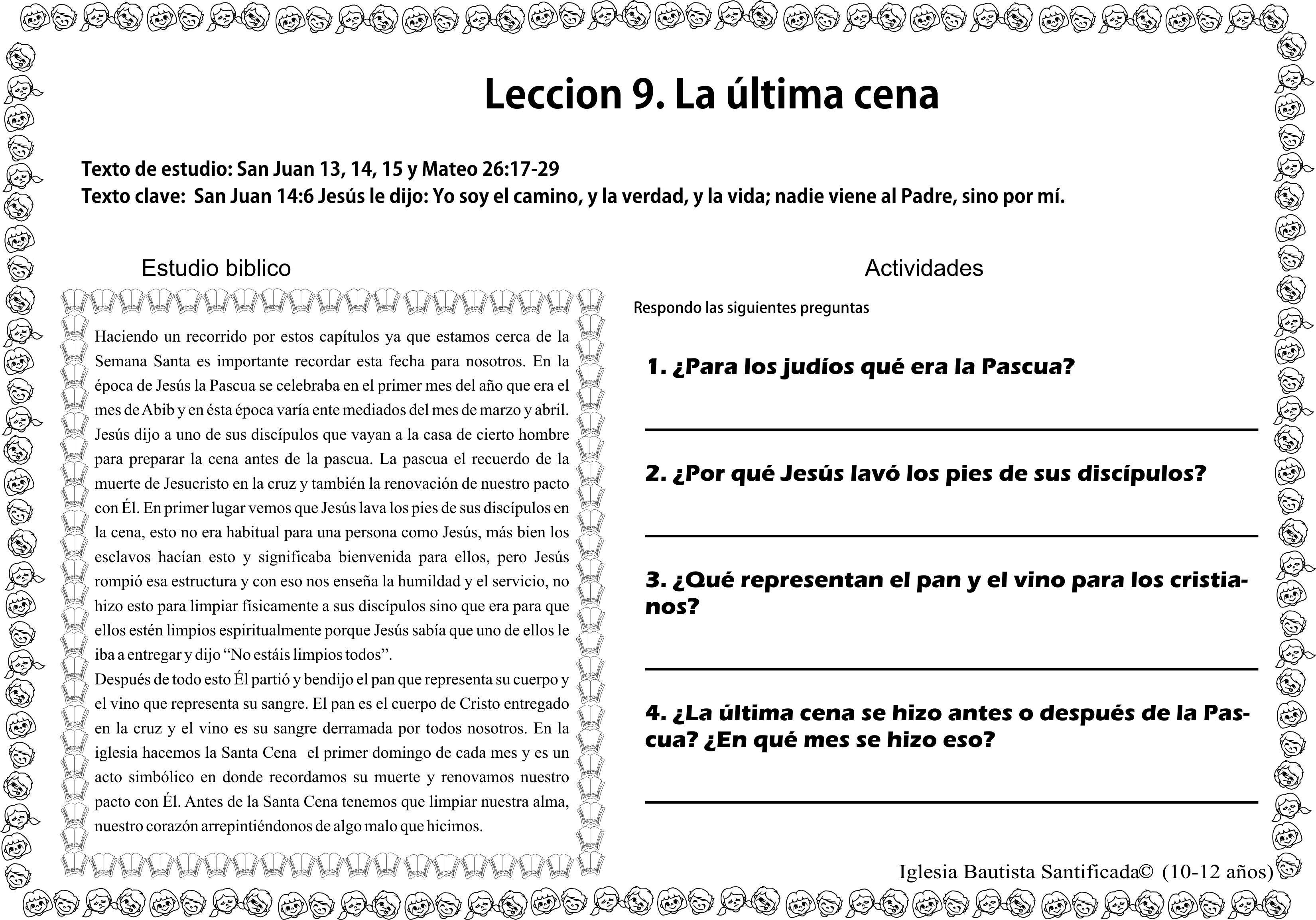 Lección 9 La última Cena Iglesia De Niños