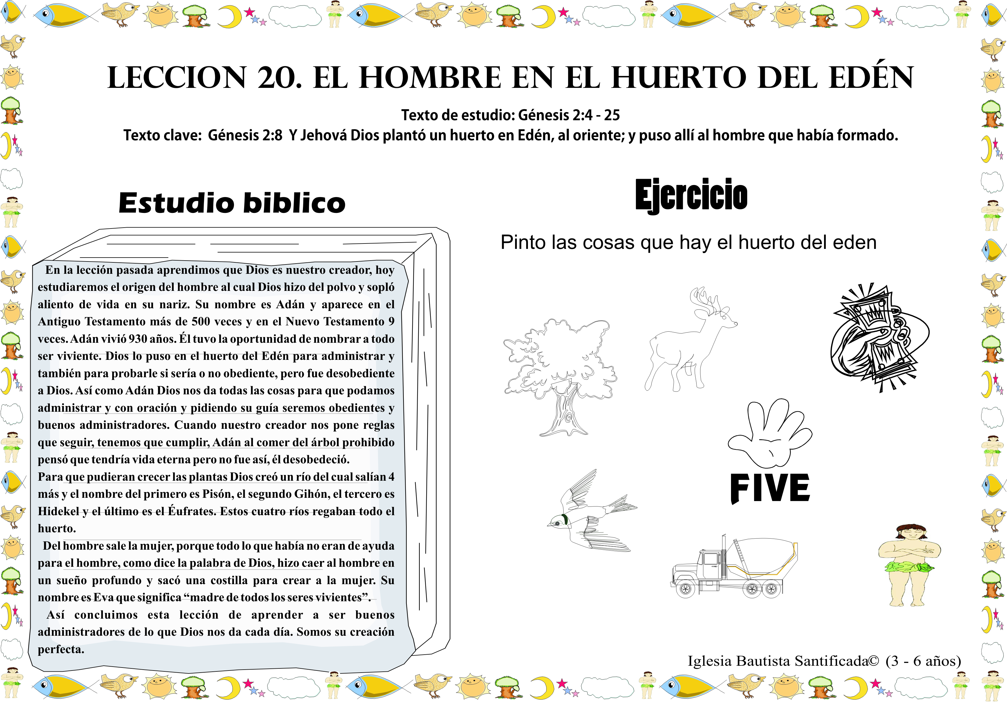 Lección 20. El Hombre en el huerto del Edén | Iglesia de Niños