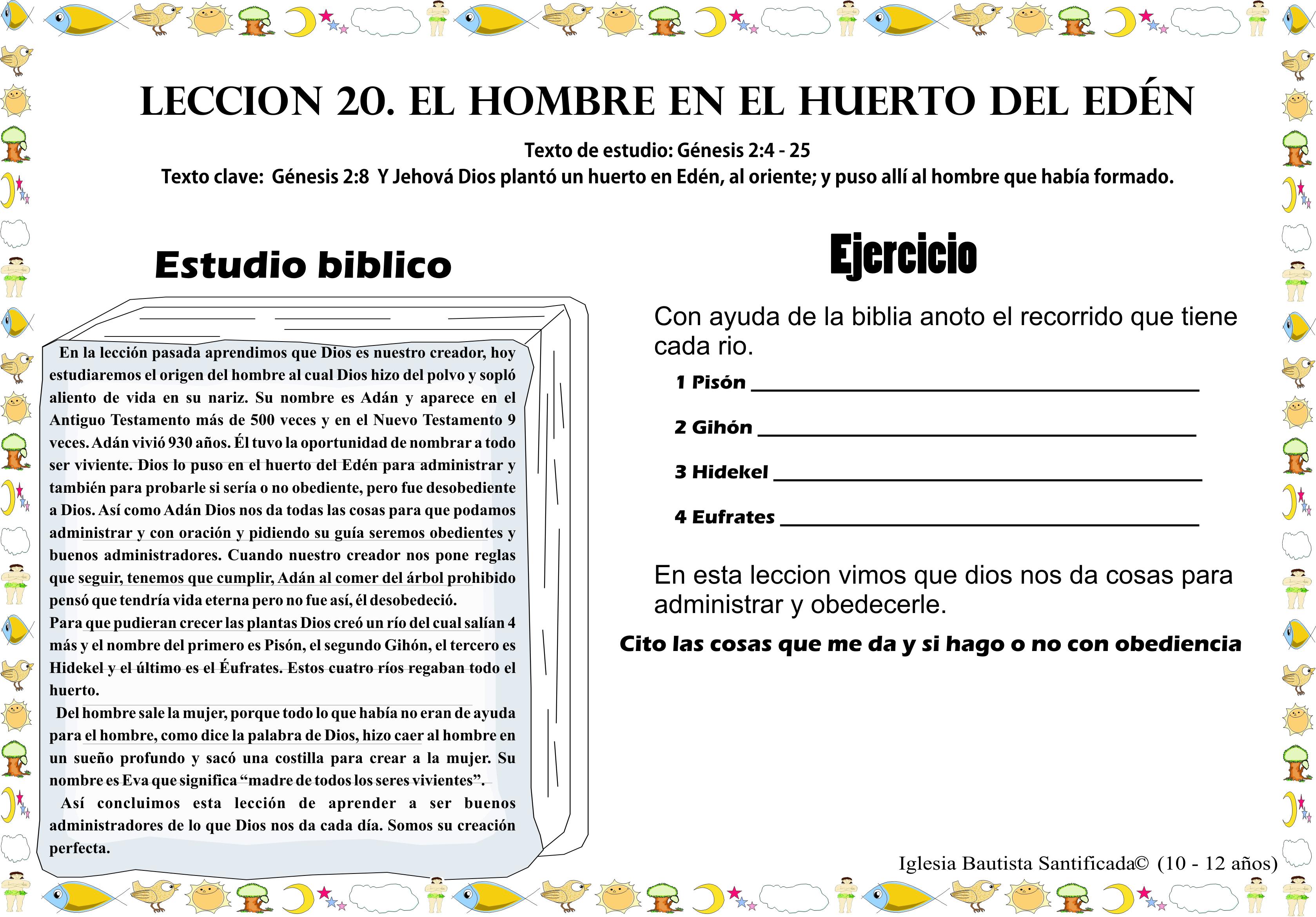 Lección 20 El Hombre En El Huerto Del Edén Iglesia De Niños