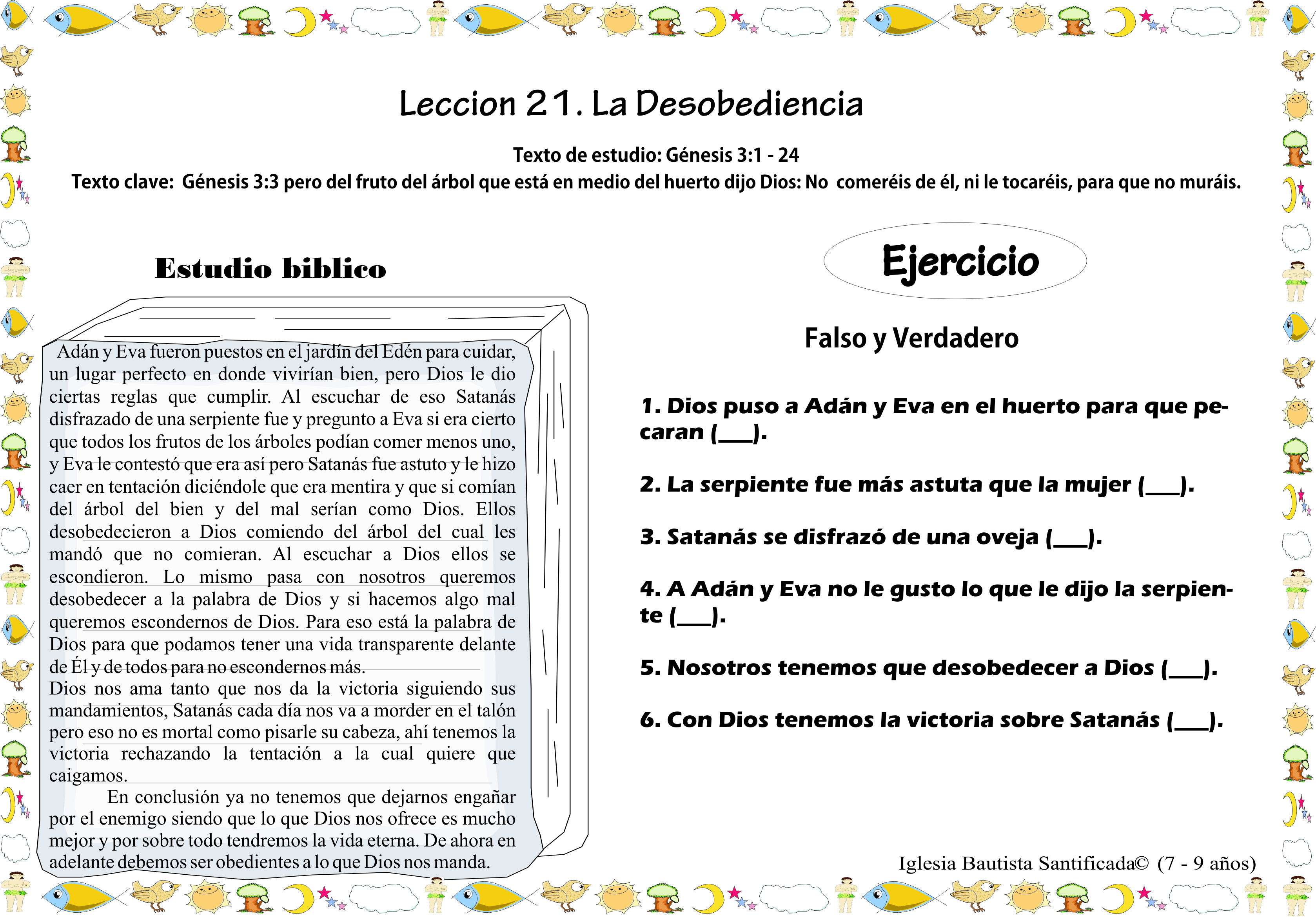 Lección 21. La desobediencia | Iglesia de Niños