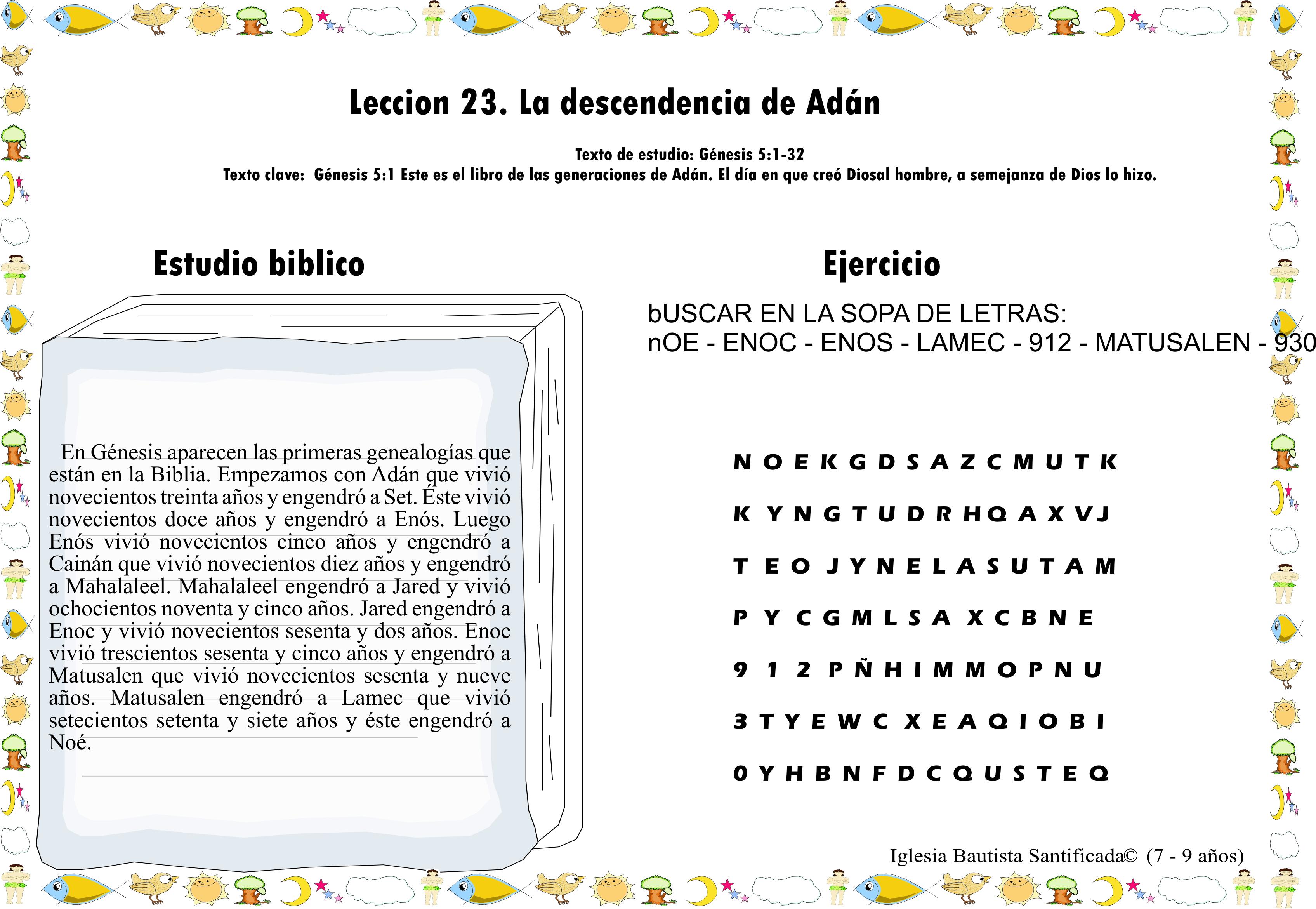 Lección 23. Los descendientes de Adán | Iglesia de Niños
