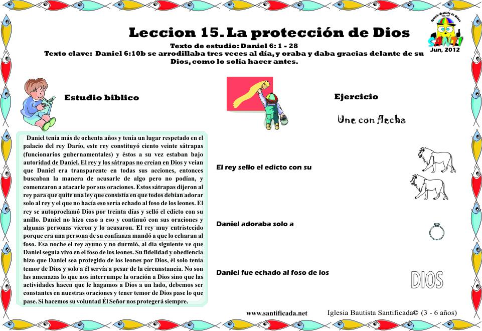 Lección 15. La protección de Dios   Iglesia de Niños
