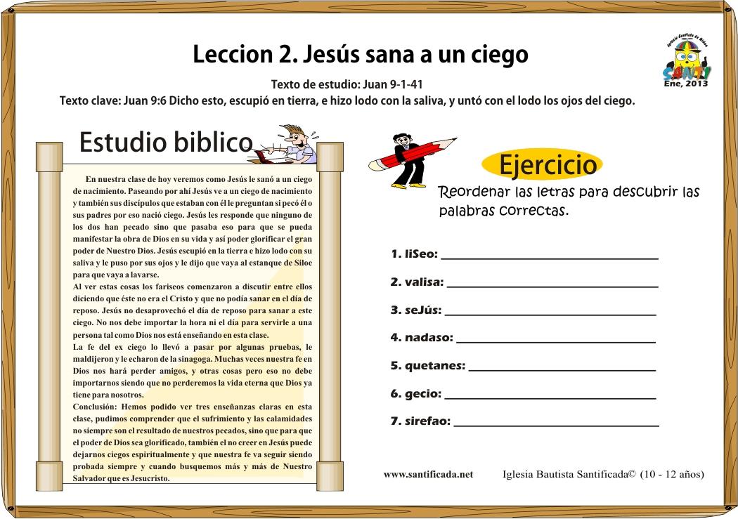Lecci n 2 jes s sana a un ciego iglesia de ni os for Lecciones de castorama de bricolaje