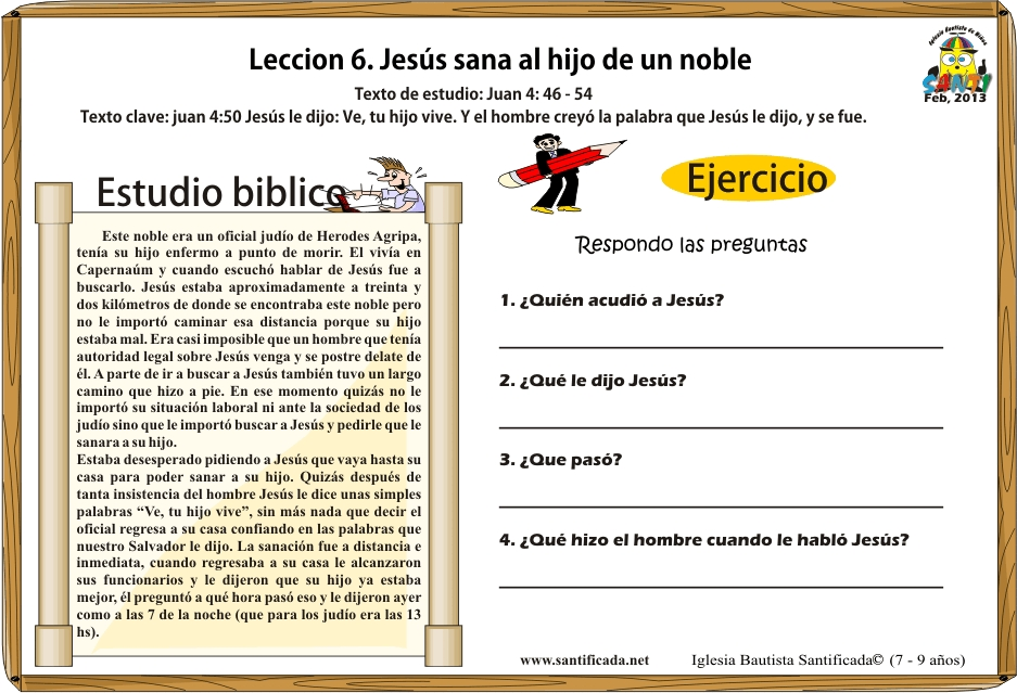 Lección 6. Jesús sana al hijo de un noble | Iglesia de Niños