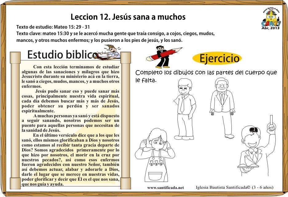 Lección 12 Jesús Sana A Muchos Iglesia De Niños