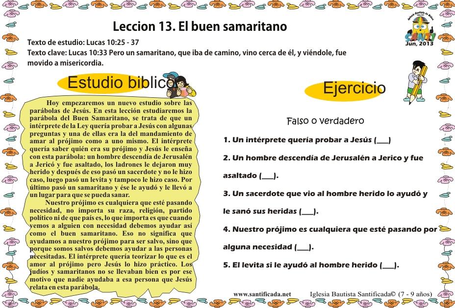Leccion 13. El Buen Samaritano | Iglesia de Niños