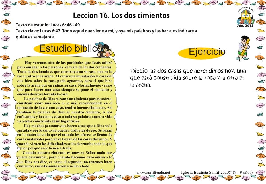 Lección 16 Los Dos Cimientos Iglesia De Niños