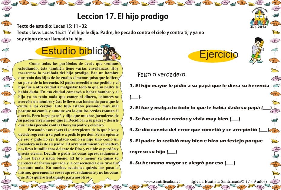 Lección 17. El hijo pródigo | Iglesia de Niños