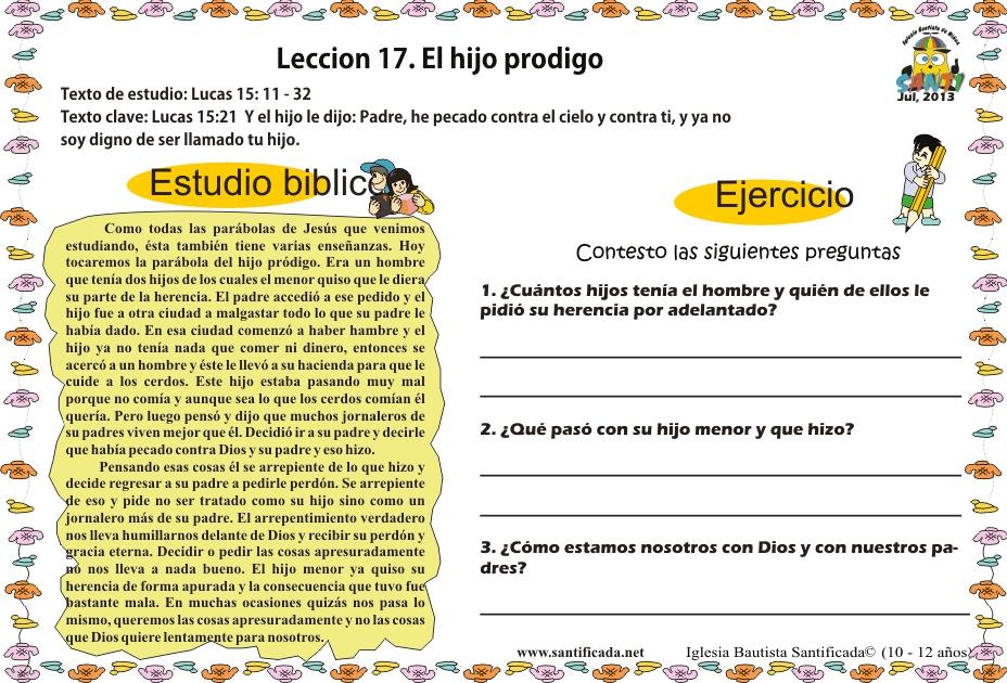 Lección 17. El hijo pródigo   Iglesia de Niños