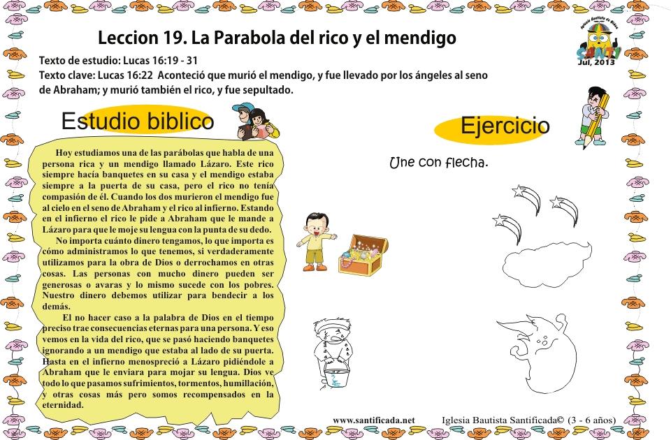 Lección 19 La Parábola Del Rico Y El Mendigo Iglesia De Niños