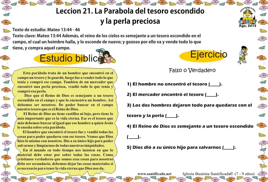 Lección 21. La parábola del tesoro escondido y la perla preciosa ...