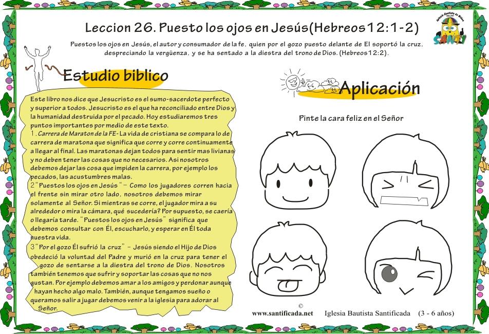 """Leccion 26 """"Puestos los ojos en Jesús""""   Iglesia de Niños"""