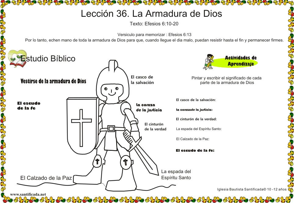 Leccion 36 La Armadura De Dios Iglesia De Niños