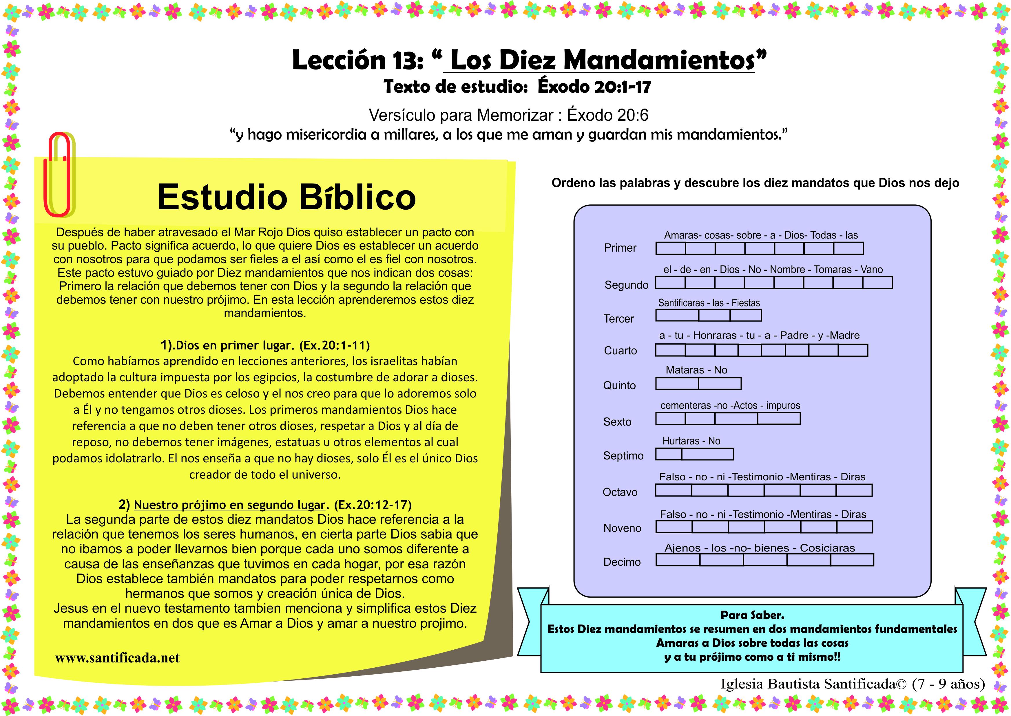Lección 13 Los Diez Mandamientos Iglesia De Niños