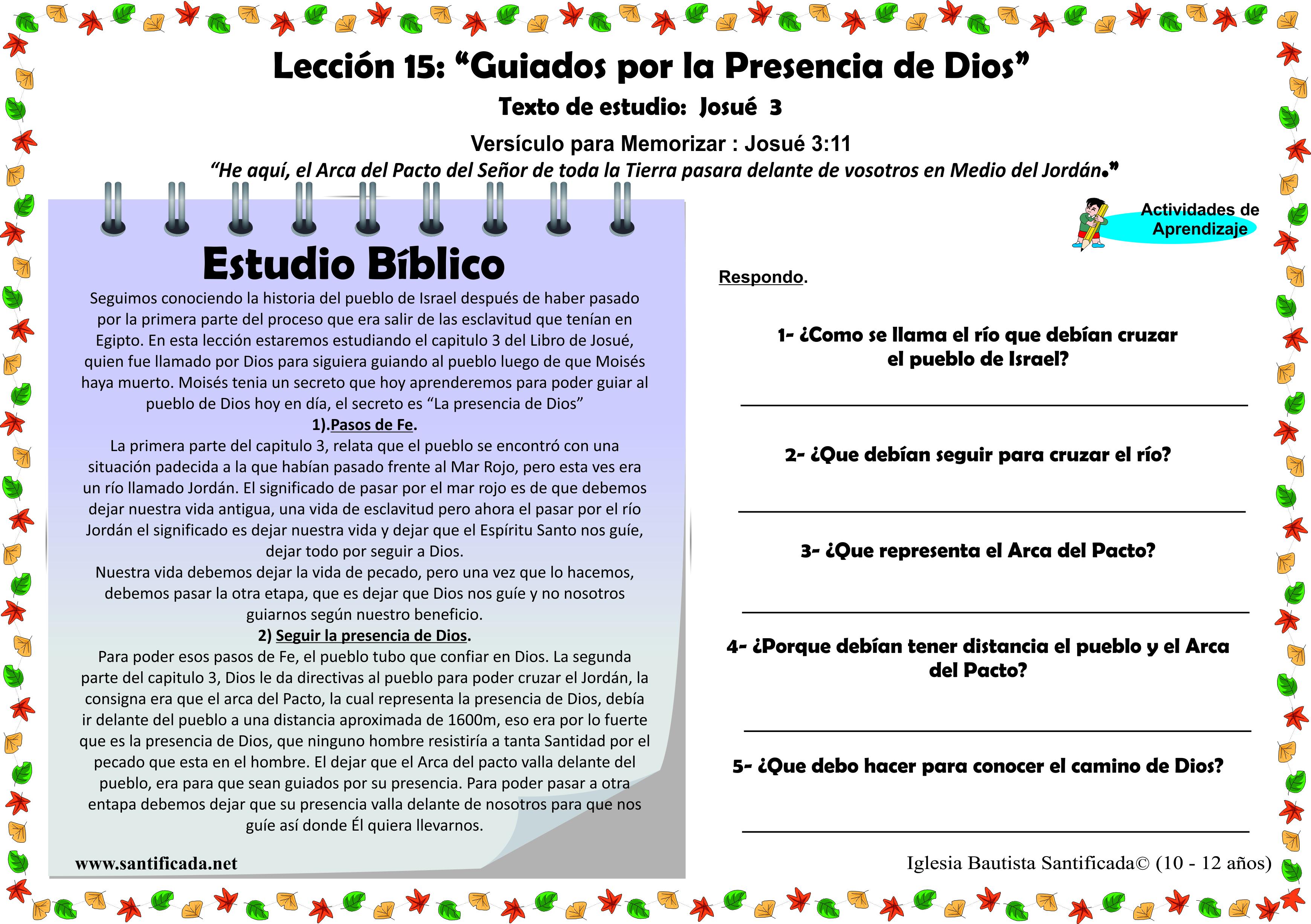 Leccion 15 Guiados Por La Presencia De Dios Iglesia De Ninos