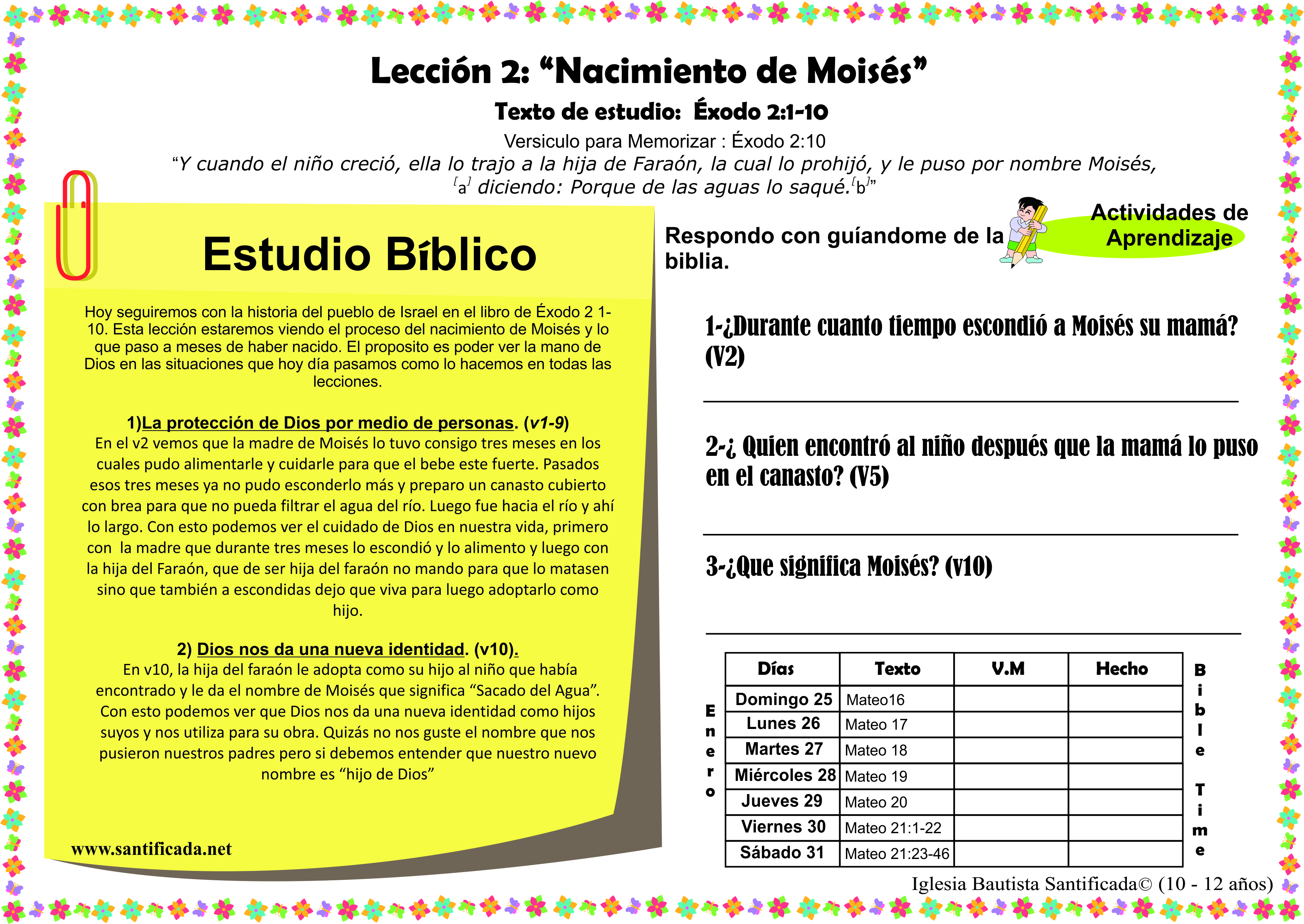 Lecci n 2 nacimiento de mois s iglesia de ni os for Lecciones de castorama de bricolaje